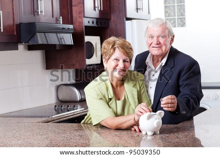 happy senior couple saving for retirement - stock photo