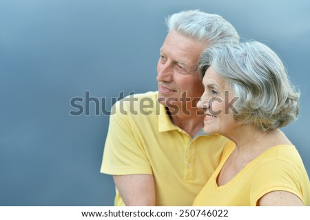 Happy senior couple sitting in summer near lake - stock photo