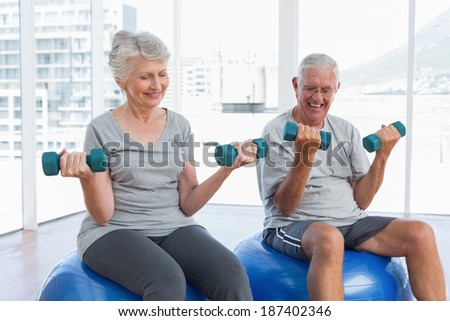 Happy senior couple sitting on fitness balls with dumbbells in the medical office - stock photo