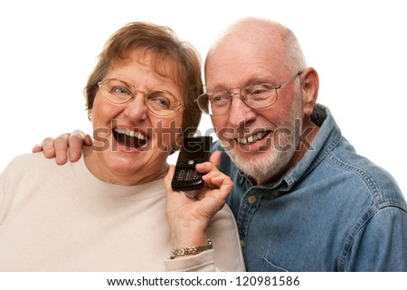 Happy Senior Couple Using Cell Phone Isolated on a White Background. - stock photo