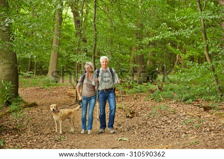 Happy senior couple waking the dog in a forest in summer - stock photo