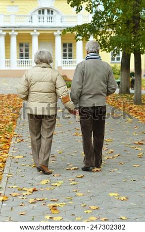 Happy senior couple walking in autumn park - stock photo