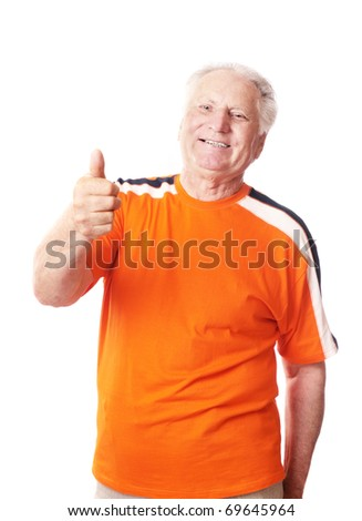 happy senior man isolated on white - stock photo