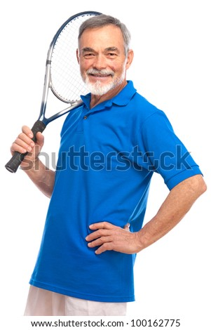 Happy senior man with a tennis racket