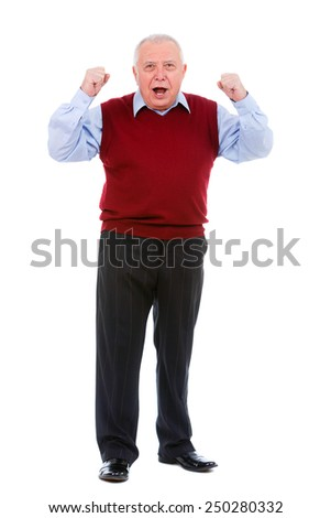Happy senior old man with a smile and raised his hands up isolated on white background - stock photo