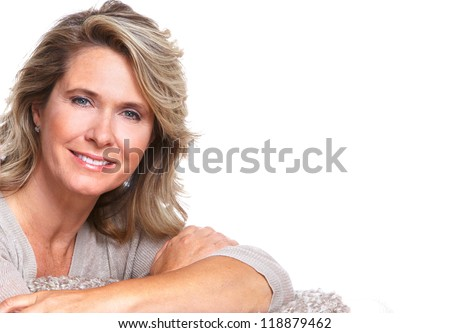 Happy senior woman portrait. Isolated on white background. - stock photo