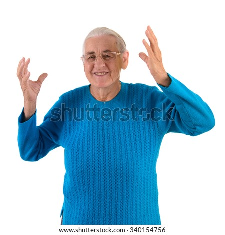 happy senior woman.portrait isolated on white background - stock photo
