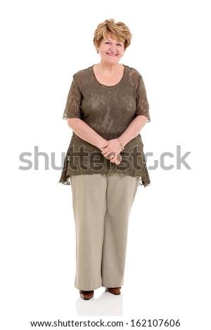 happy senior woman posing on white background - stock photo