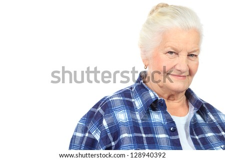 Happy senior woman smiling at the camera. Isolated over white. - stock photo