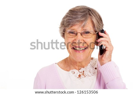 happy senior woman talking on cell phone isolated on white - stock photo