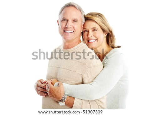 Happy seniors couple in love. Isolated over white background