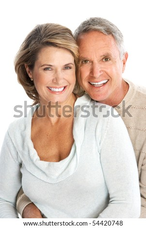 Happy seniors couple in love. Isolated over white background - stock photo