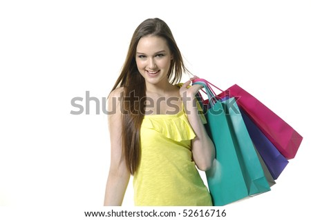 happy shopping girl holding bags