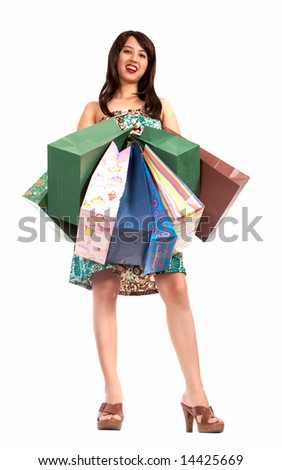 happy shopping girl with lots of shopping bags - stock photo