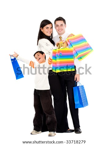 happy shopping people isolated over a white background - stock photo