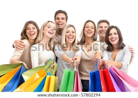 Happy shopping shopping. Isolated over white background - stock photo