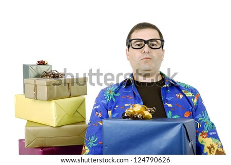 happy silly salesman with some boxes, isolated on white - stock photo
