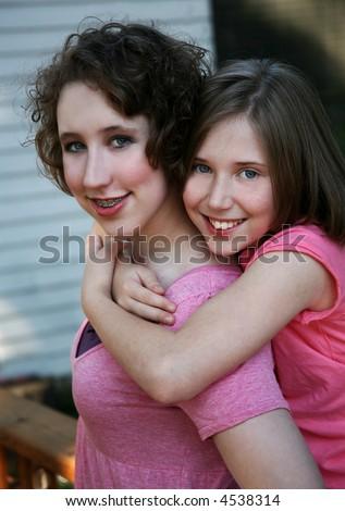 happy sisters - stock photo