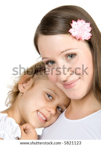 Happy sisters have fun. Isolate on white. - stock photo