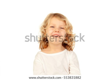 Happy small blond kid isolated on a white background