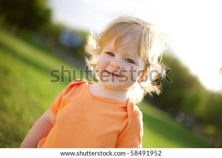 happy small boy - stock photo
