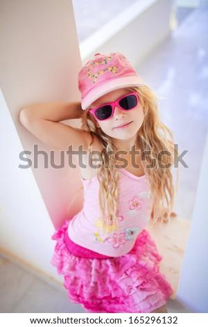 happy small fashion girl - stock photo