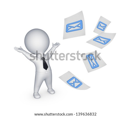 Happy small person with sign of envelope.Isolated on white.3d rendered. - stock photo