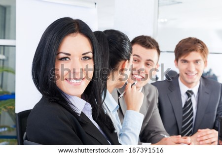 happy smile business woman face, people group in a row, young businesswoman looking at camera, businesspeople team sitting at desk in office