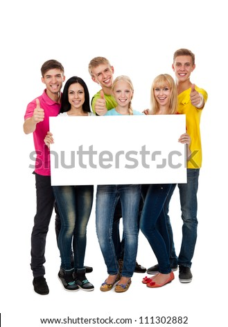 Happy smile group of young people holding a blank white card board, signboard, show thumb up gesture empty bill board, full length portrait Isolated over white background