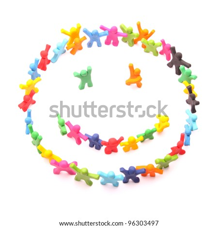 happy smiley arranged by cheerful plasticine people - isolated on white - stock photo