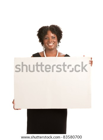 Happy Smiling African American Female Holding Blank Board Isolated - stock photo