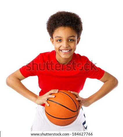 Happy smiling African American teenager with basketball, player. Half body portrait, close-up. Isolated, over white background, with copy space. - stock photo