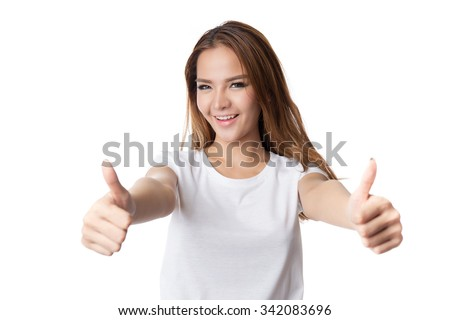 Happy smiling asian business woman with thumbs up gesture, isolated on white background - stock photo