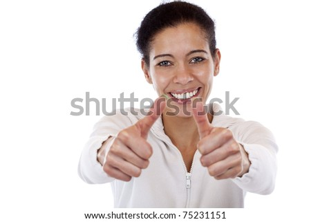 Happy, smiling, attractive woman shows both thumbs up. isolated on white background. - stock photo