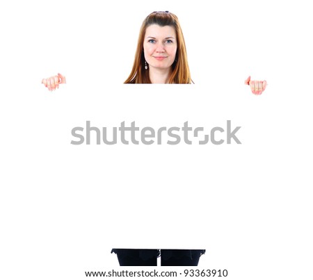 Happy smiling beautiful young business woman showing blank signboard