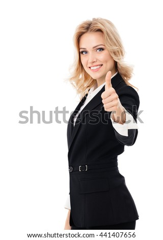 Happy smiling beautiful young businesswoman showing thumbs up gesture, isolated against white background - stock photo