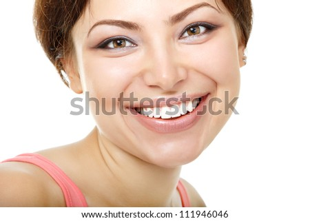 happy smiling beautiful young woman looking at camera, isolated on white background - stock photo