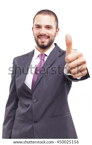 Happy smiling business man thumbs up on white background - stock photo