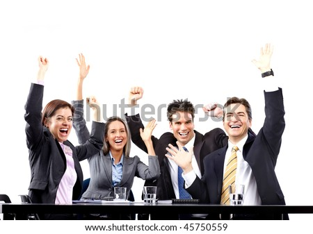 Happy smiling business people team working in the office - stock photo