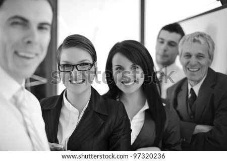 Happy smiling business team - stock photo