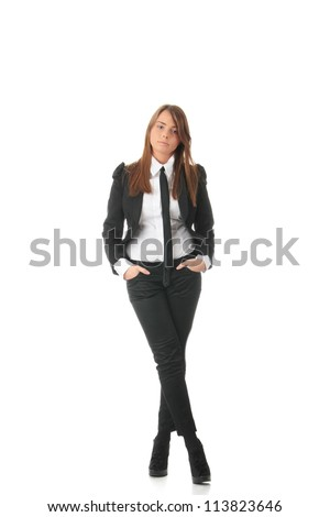 Happy smiling business woman or student in elegant clothes