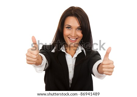 Happy smiling business woman with thumbs up gesture, isolated on white background