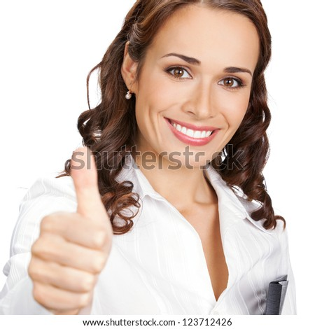 Happy smiling business woman with thumbs up gesture, isolated over white background