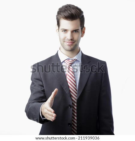 Happy smiling businessman giving hand for an handshake isolated on white background. Business people. - stock photo