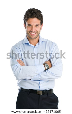 Happy smiling businessman looking at camera with satisfaction, isolated on white background - stock photo