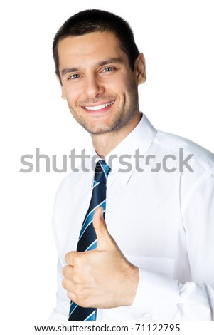 Happy smiling businessman with thumbs up gesture, isolated on white background