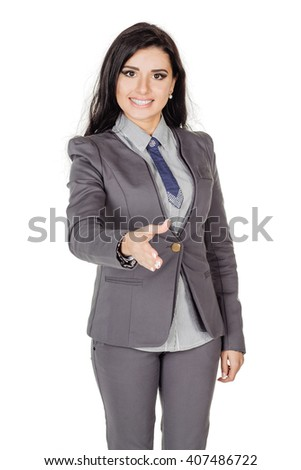 happy smiling businesswoman in suit giving hand for handshake. Image on a white background. business, people, gesture, partnership and greeting concept - stock photo