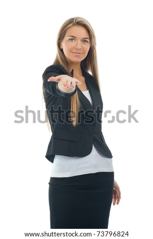 Happy smiling businesswoman showing something on the palm of her hand