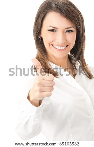 Happy smiling businesswoman with thumbs up gesture, isolated on white background - stock photo