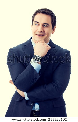 Happy smiling cheerful thinking or planning pensive senior businessman - stock photo